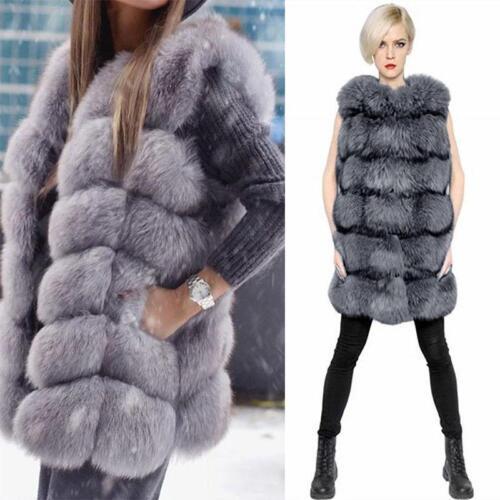 Fluffy Fox Fur Vest Women Gilet Lady Warm Vogue Long Coats Parka Clothes Outwear