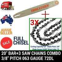20 Bar And 3 Chains Combo For Stihl Chainsaw 3/8 72dl .63 Full Chisel
