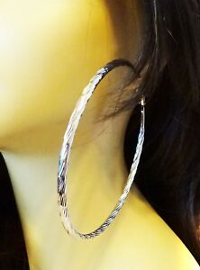 Image Is Loading Large Hoop Earrings Circle Swirl Gold Or Silver