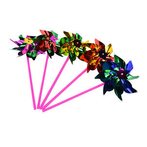 Details About 5 10 15x Holographic Garden Windmill Single Flower Window Home Decor Kids Toy Br