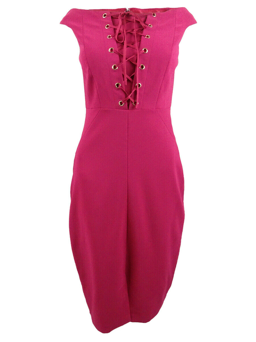 JAX Woherren Solid Off-The-Shoulder Lace-Up Dress (4, Berry)