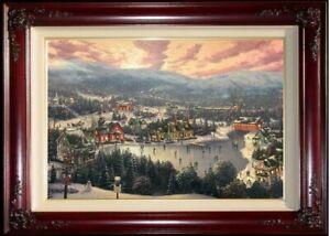 Thomas-Kinkade-Sunset-on-Snowflake-Lake-E-P-18x27-Canvas-in-Brandy-Frame