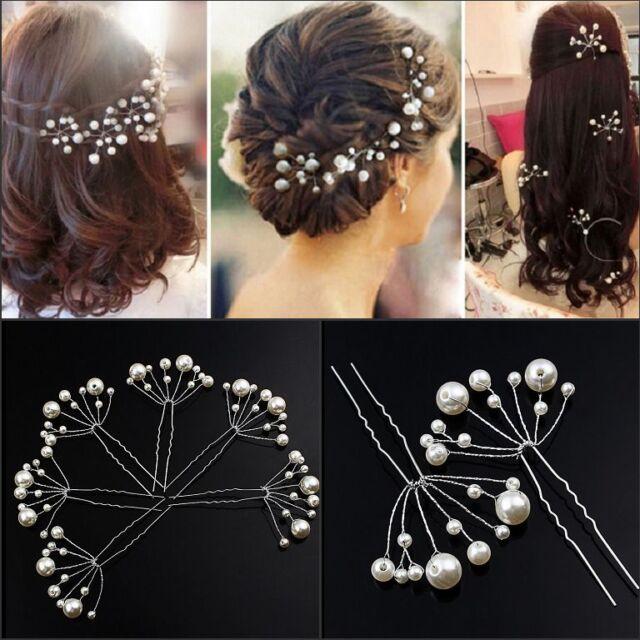 2pcs Fashion New Wedding Bridal Bridesmaid Pearls Hair Pins Clips Comb Headband