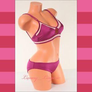 Pink-Victoria-039-s-Secret-2-Piece-Swim-Set-Mesh-Triangle-Top-Back-Ruched-Bikini-NWT