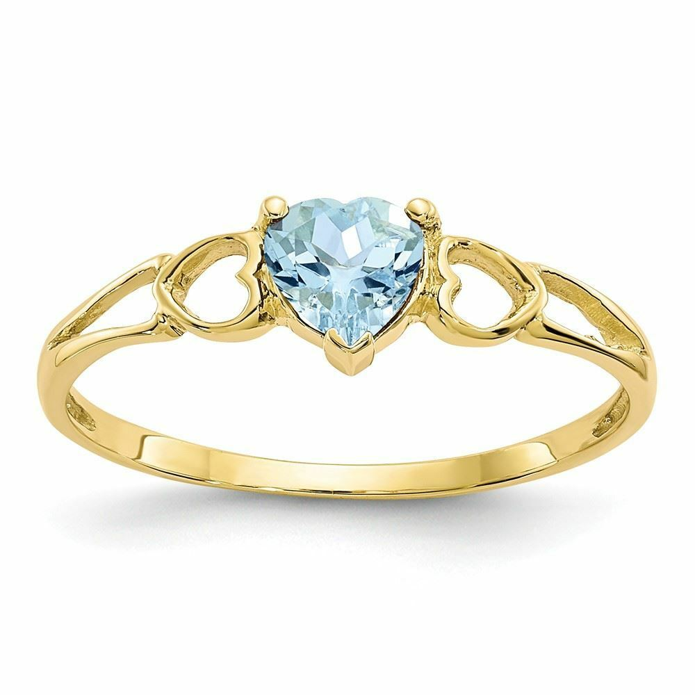 10K gold Genuine Aquamarine March Birthstone Heart Ring
