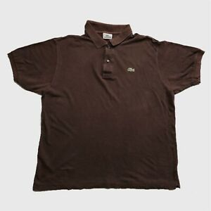 Mens-Vintage-Lacoste-Polo-Shirt-Large-Brown-Short-Sleeve