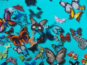 Designers-Guild-Curtain-Fabric-039-BUTTERFLY-PARADE-039-1-METRE-Lagon-100-Cotton