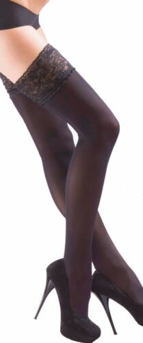 kp Plain Opaque Hold Ups Luxury Soft 40 Denier Lace Top Holdups Stay Ups BLACK