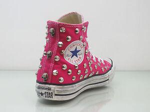 Converse all star Hi borchie teschi inv scarpe fuxia cosmos pink artigianali