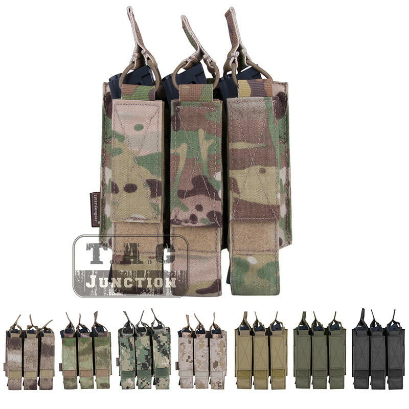 Emerson Tactical Modular MOLLE Triple  Open Top SMG Magazine Mag Pouch Holder  world famous sale online