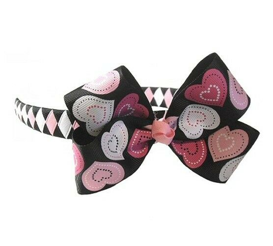 Lots of Hearts Boutique Bow on Woven Headband (Black)
