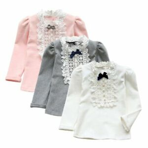 Cute-Baby-Kids-Girls-Cotton-Lace-Long-Sleeve-Shirt-Toddler-Bowknot-Blouse-Tops