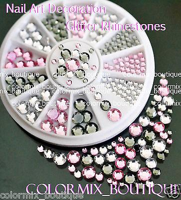 #R35 (5/4/3/2)mm 3D Nail Art Tips Decoration Black White Pink Glitter Rhinestone