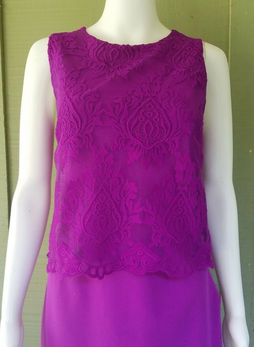 4e4a4389b53 ... NWT GIANNI BINI BINI BINI Magenta Lace Top Dress Large Medium 1d1af1 ...