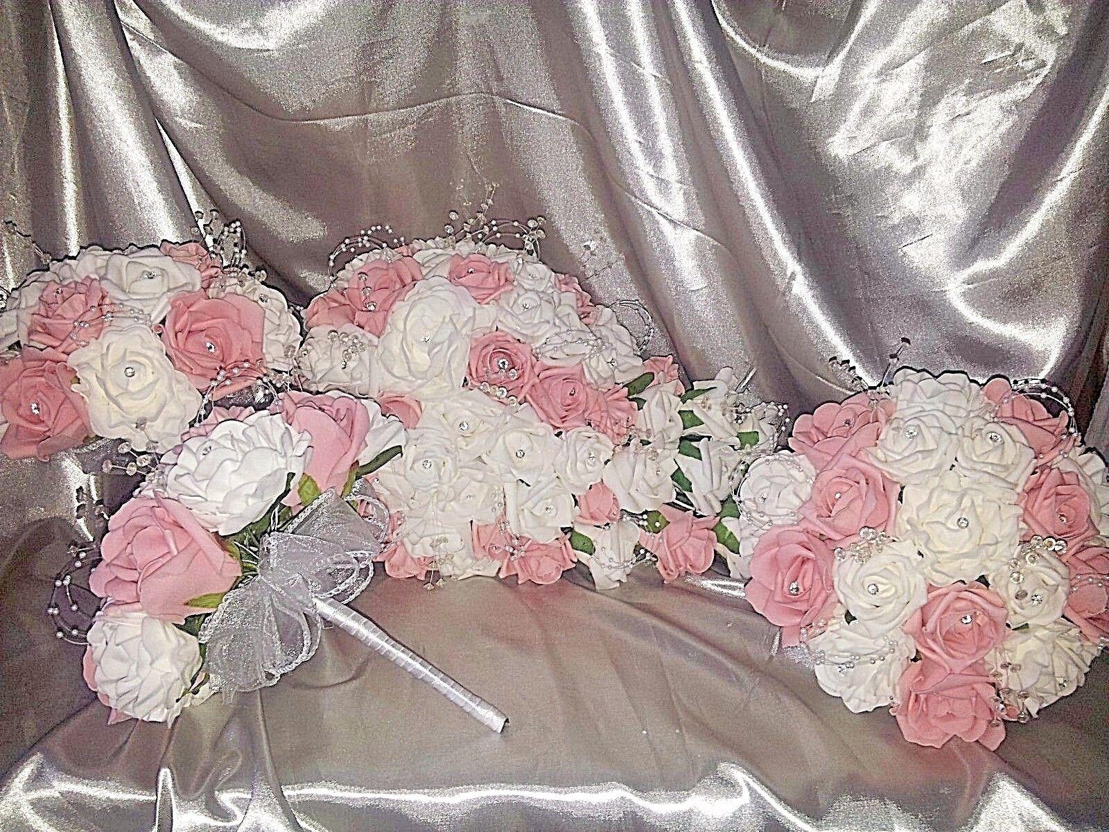 Bébé Rose & Blanc Mariage Paquet Teardrop 3 x demoiselles d'honneur perles Diamantes
