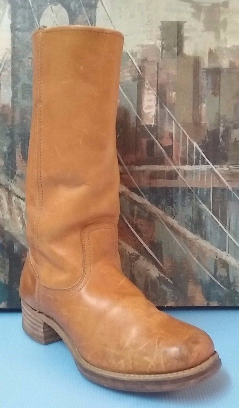 Vintage Tan Western Cowboy Boots Size Mens 9.5