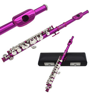 New LADE Rose Red School Band C Key Piccolo Silver Mouthpiece + Leather Case