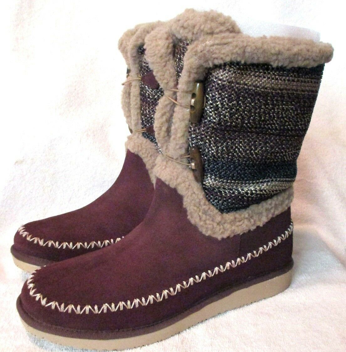 NEW S.A.K Earth Stripe Thick Sole, Cold Weather,läder Boot, 7.5 M