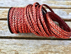 5mm Flat Braided Leather Cord - Turkey Red - One Yard - LCF5-5