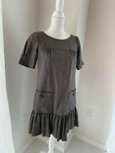 Trina-Turk-Taupe-Brown-Drop-Waist-Short-Sleeve-Career-Dress-SZ-2-XS