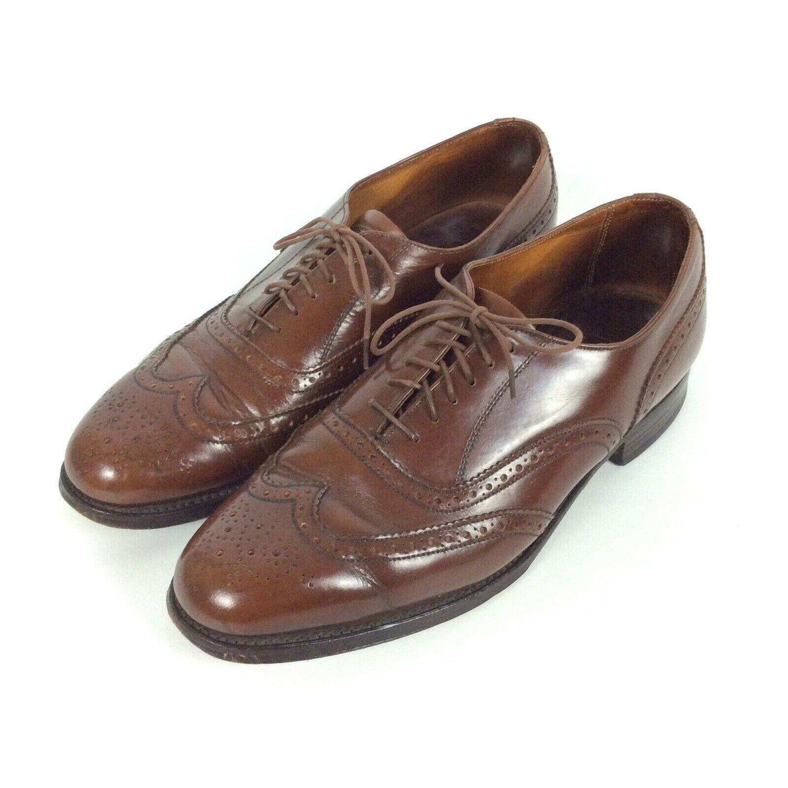 Royal Windsor Grenson nos 9.5 D Marrón Cuero Calado Oxford Zapatos extremos del ala