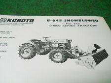 Kubota B648 Rotary Snow Plow Blower Dealer Sales Sheet One Sided