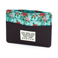 Wampum Men's Floral Card Wallet Black Coin Credit Card Money Cool Brand on sale