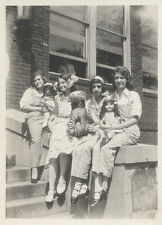 YOUNG GIRLS WITH BABY DOLLS AND STUFFED ANIMAL, VINTAGE PHOTOGRAPH