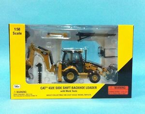 Details about Norscot cat 432E Side Shift Backhoe with work tools 1:50  Caterpillar 55149