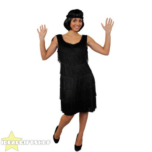 5 PIECE LADIES FLAPPER COSTUME 1920/'S BLACK FANCY DRESS COSTUME ACCESSORY KIT
