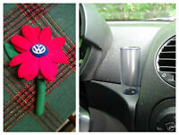 Vw Beetle Authentic Plush Red Logo Daisy Flower & 1 Clear Vase