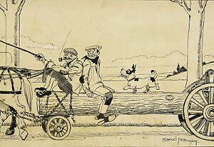 Marcel Prangey (1899-1954) L'automobile Dessin Humoristique Voiture Ancienne