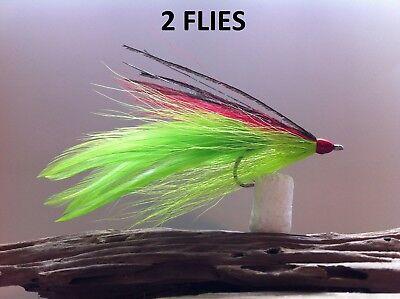 DECEIVER  FLY BLACK 2 FLIES  Mustad 34007 #2 stainless redfish,snook,striper