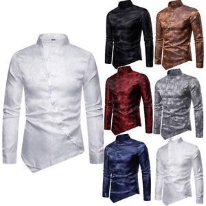 Luxury-Mens-Shiny-Silk-Like-Dress-Shirt-Slim-Fit-T-Shirt-Long-Sleeve-Formal-Tops