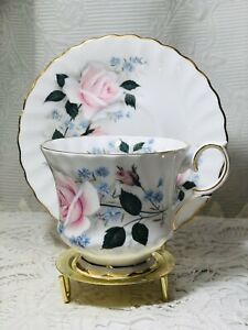 Vintage-Queen-Anne-Cherie-Tea-Cup-amp-Saucer-Pink-Flowers-Bone-China-England