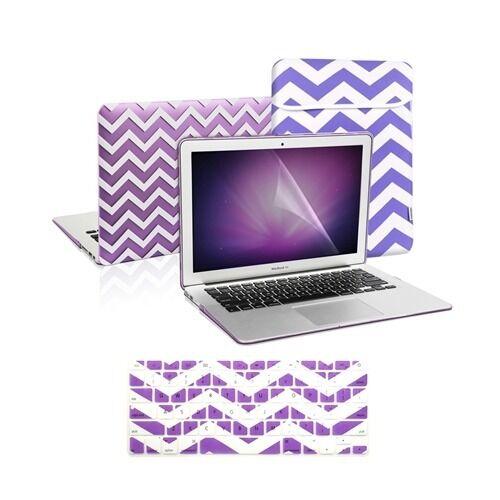 "Matte Chevron PURPLE Case+Keyboard Cover+LCD+Bag for Macbook Air 11/"" A1370//A1465"