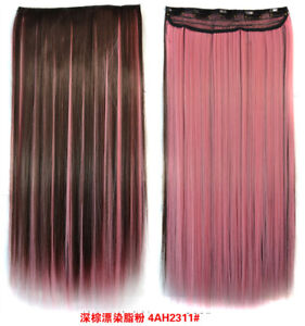 Dark Brown Light Pink Highlights Mix Long Straight Clip In 23 6 Inch