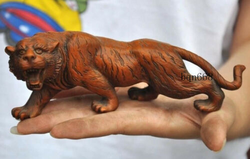 """7/"""" China old Boxwood Wood Hand carved Ferocious Animal lucky tiger statue"""