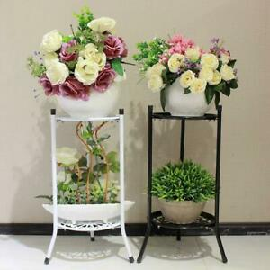 Outdoor-Indoor-Plant-Stand-Metal-Black-Flower-Pot-Multi-Tier-Garden-Corner-Shelf