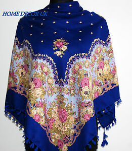 Beautiful-Russian-colourful-folk-vintage-style-scarf-shawl-wrap-stole-cowl