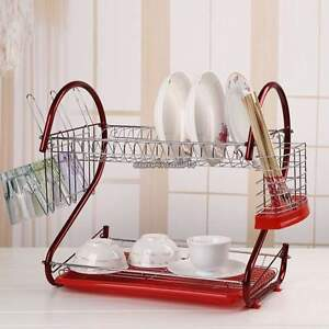 Kitchen organization holder 2 Tier Stainless Steel Dish Drainer Drying Rack Red