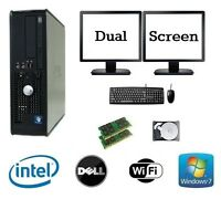 Dell Dual Core 8GB RAM 1TB HDD Windows 7 Desktop PC Computer Dual Screen Bundle