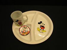 Mickey Mouse Walt Disney Divided Child's Plate & Fire King Anchor Hocking Mug
