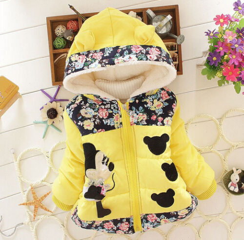 Toddler Girls Baby Winter Warm Minnie Hooded Coat Jacket Outerwear Clothes