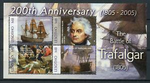 Lesotho-2005-neuf-sans-charniere-Battle-of-Trafalgar-200th-4-V-M-S-Horatio-Nelson-navires-timbres