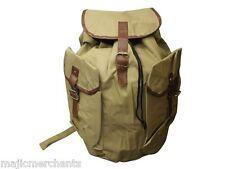 Khaki Green Rucksack Army Bag Buckle 20L Walking Hiking School Backpack Vintage