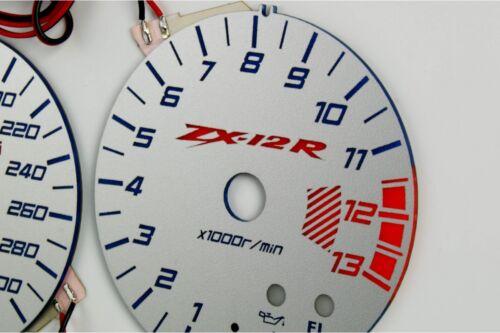 Kawasaki Ninja ZX-12R glow gauges dials plasma dials kit tacho glow dash shift i