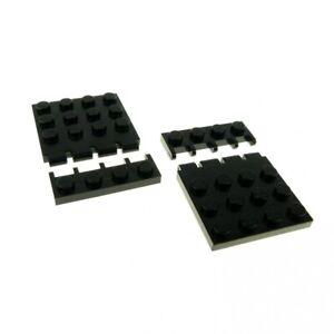 2-x-Lego-System-Bau-Platte-schwarz-4x4-Klappe-mit-Scharnier-Auto-Dach-Classic-Sp