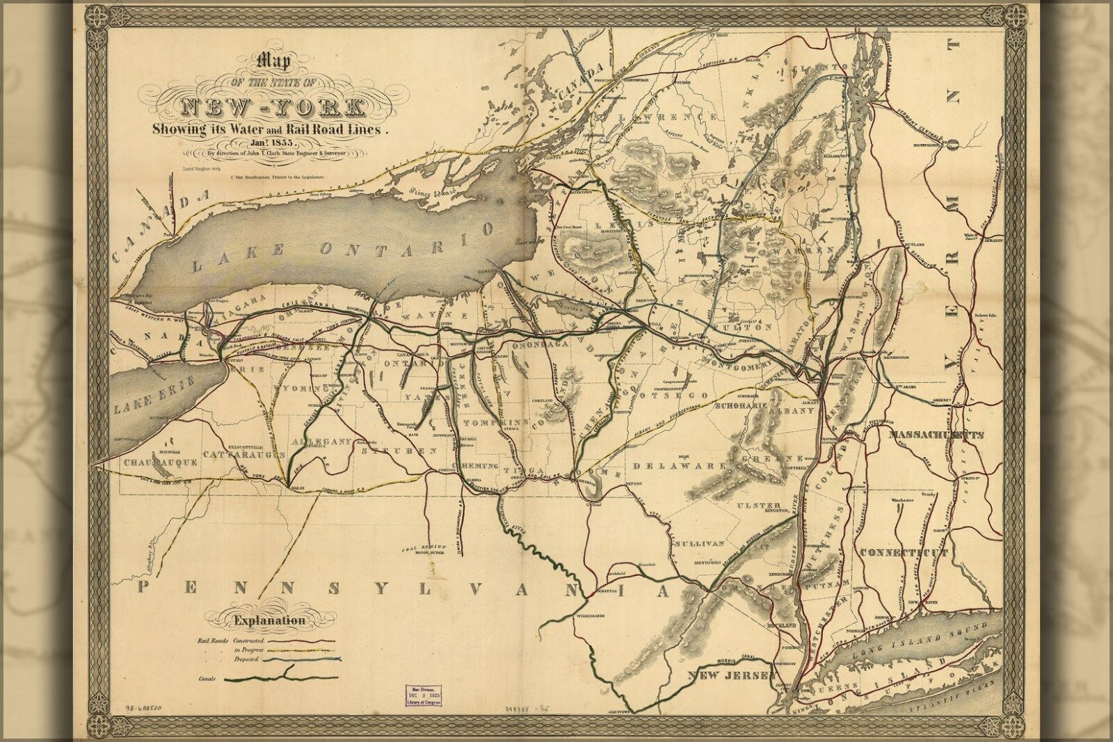 Plakat, Viele Größen; KKunste von New York Stateroom Wasser & Eisenbahnen 1855