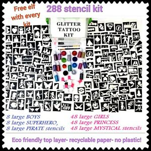 Kit-Para-Tatuar-Brillo-288-Stencils-20-Brillos-5-pegamento-o-articulos-de-recarga-Menu-Desplegable